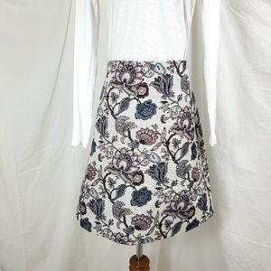 Ann Taylor Loft 12 Floral Brocade Jacquard Skirt